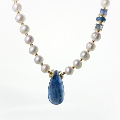 Seaside Pearl Kyanite Necklace