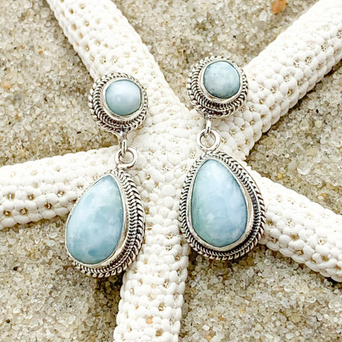 Larimar Post Drop Earrings