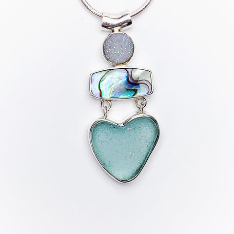 Heart shaped Sea Glass Necklace