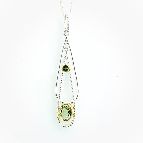 MICHOU GREEN AMETHYST DROP NECKLACE