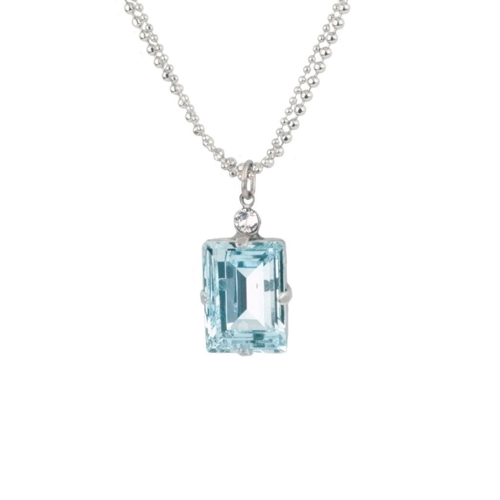 PALE BLUE RECTANGLE NECK SS