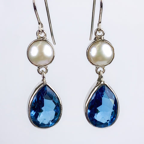 London Blue Topaz and Pearl Earrings