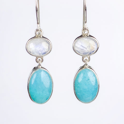 Moonstone Amazonite Drop Earrings