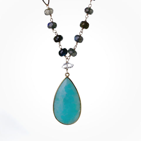 Amazonite Teardrop Gem Necklace