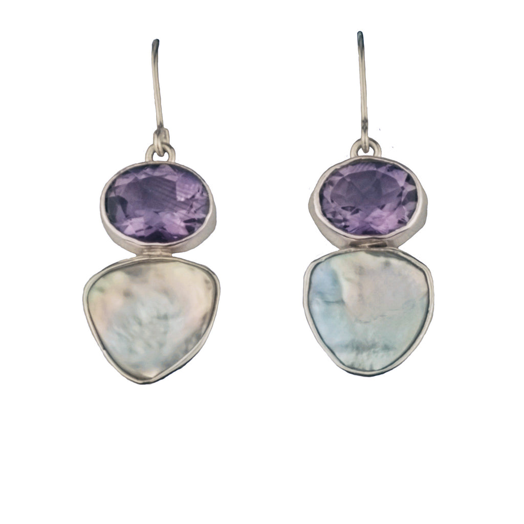 Amethyst & Keishi Pearl Earrings