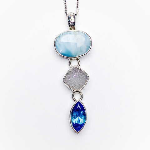 Mystical Madness Larimar, Druzy, and Blue topaz pendant