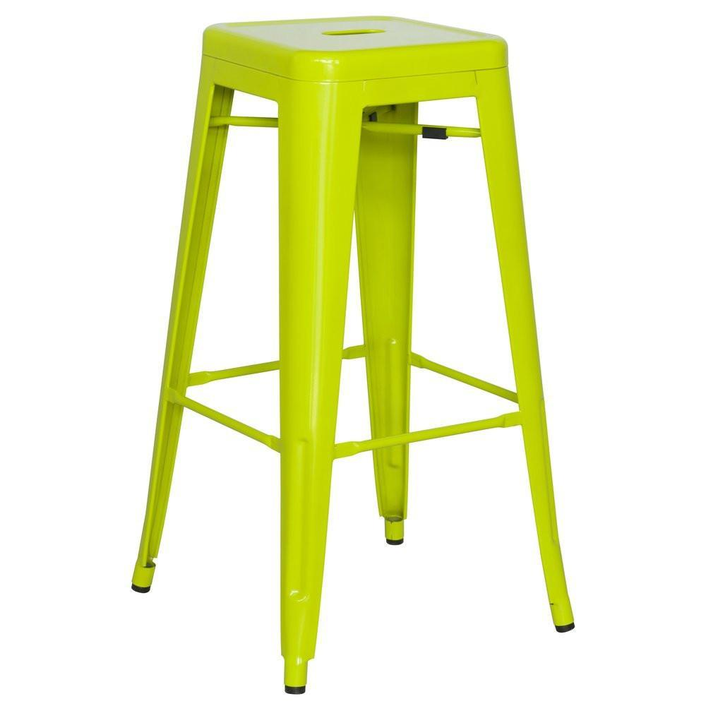 Super Chintaly Galvanized Steel Bar Stool Set Of 4 8015 Bs Grn Gamerscity Chair Design For Home Gamerscityorg