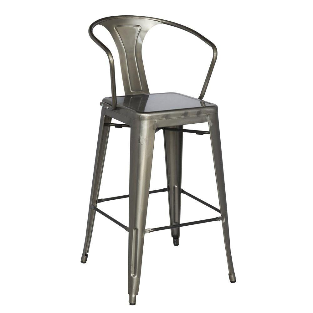 Remarkable Chintaly Galvanized Steel Bar Stool Set Of 4 8020 Bs Gun Gamerscity Chair Design For Home Gamerscityorg