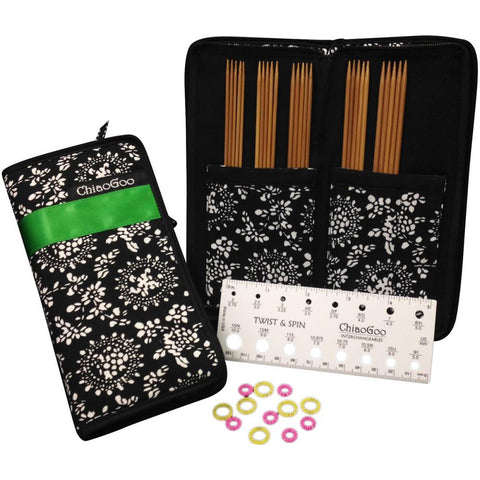 "ChiaoGoo Double Point Bamboo Knitting Needle 6"" Set - Unraveled Yarn Shop"