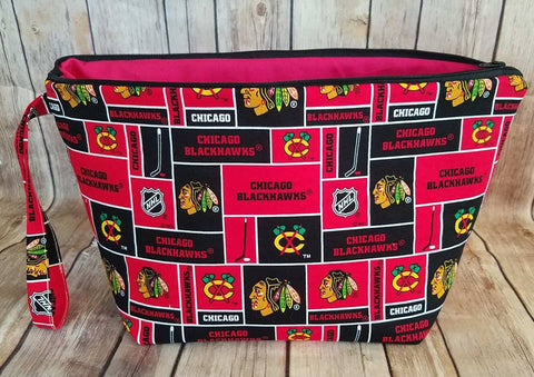 UnRaveled Bag Large Project Bag - Chicago Blackhawks - Unraveled Yarn Shop