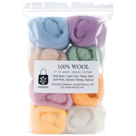 "Wool Roving 12"" .25oz 8/Pkg - Unraveled Yarn Shop"