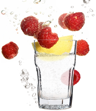 glass of water with raspberries and lemon