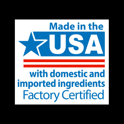 Manufactured in the USA with domestically and globally sources ingredients.