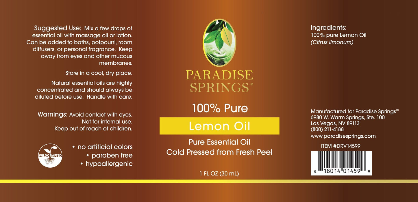 Paradise Springs Lemon Oil Label