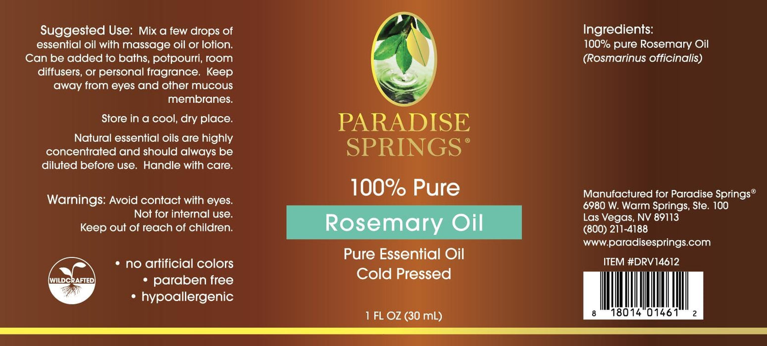 Paradise Springs Rosemary Oil Label