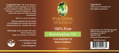 Paradise Springs Eucalyptus Oil Label