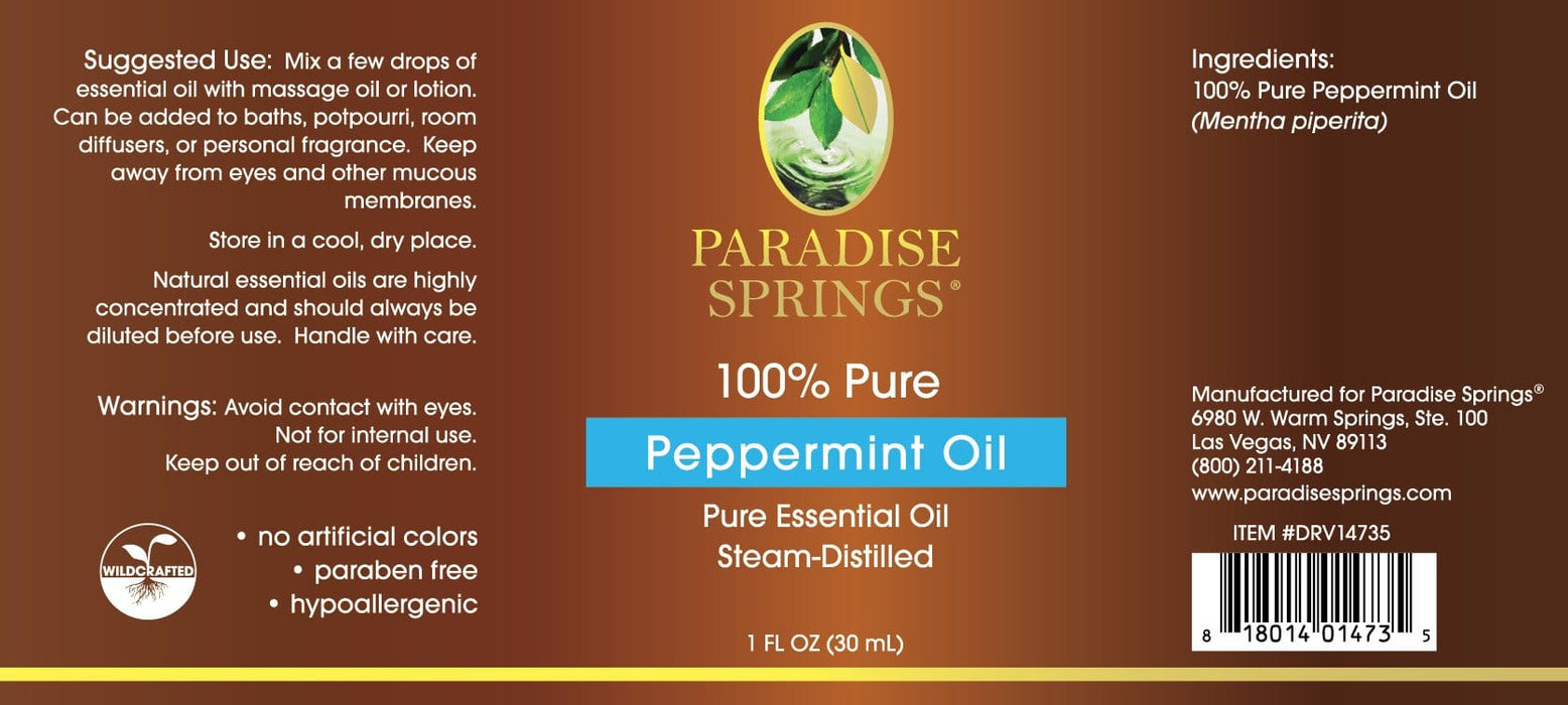 Paradise Springs Peppermint Oil Label