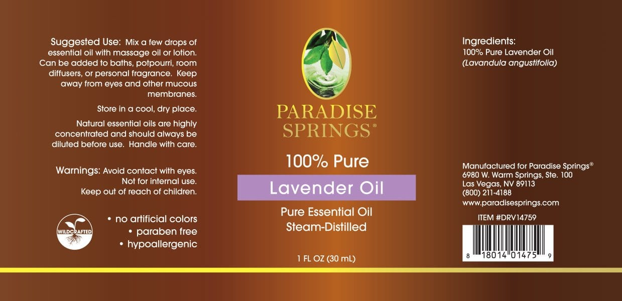 Paradise Springs Lavender Oil Label