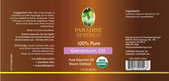 Paradise Springs Organic Geranium Oil Label
