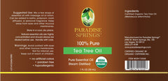 Paradise Springs Organic Tea Tree Oil Label