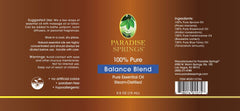 Paradise Springs Balance Blend Label
