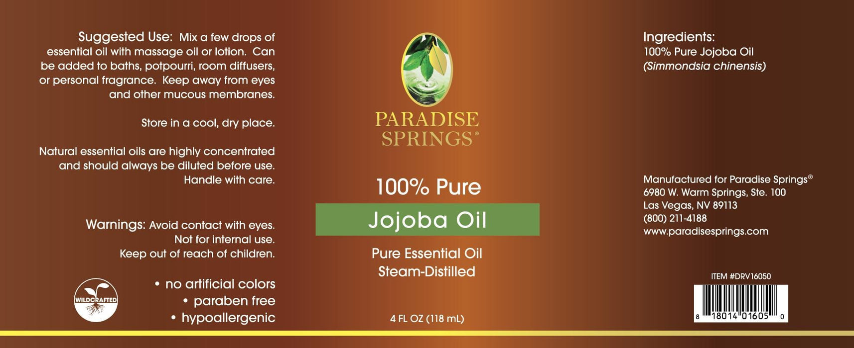 Paradise Springs JoJoba Oil Label