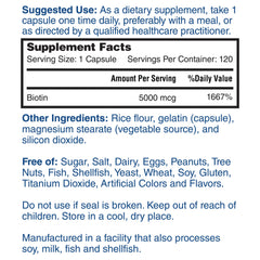 Nature's Lab Biotin 5000 mcg 120 capsules Supplement Facts