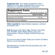 Nature's Lab CoQ10 100mg 120 capsules Supplement Facts