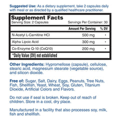 Nature's Lab CoQ10 Alpha Lipoic Acid Acetyl L-Carnitine HCl 60 Capsules Supplement Facts
