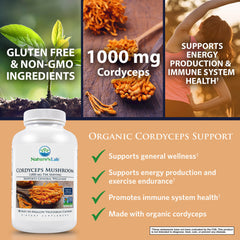 Nature's Lab Organic Cordyceps Mushroom 1000 mg 180 capsules Benefits