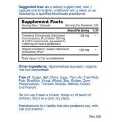 Nature's Lab Cranberry 5400mg 180 capsules Supplement Facts