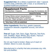 Nature's Lab Ginkgo Biloba 120 mg 60 Capsules Supplement Facts
