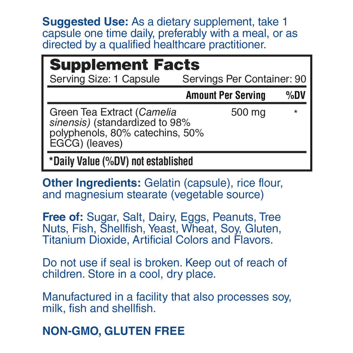 Nature's Lab Green Tea Extract, 500 mg - 90 capsules