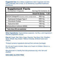 Nature's Lab Hyaluronic Acid with BioCell Collagen & MSM 60 Capsules Supplement Facts
