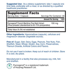 Nature's Lab Pycnogenol 100mg 30 capsules Supplement Facts