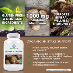 Nature's Lab Organic Shiitake Mushroom 1000 mg 180 capsules Benefits