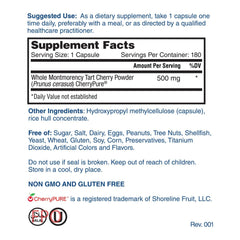 Nature's Lab Tart Cherry 500 mg 180 capsules Supplement Facts