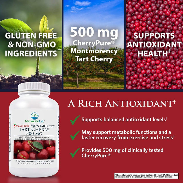 Nature's Lab Tart Cherry 500 mg 180 capsules