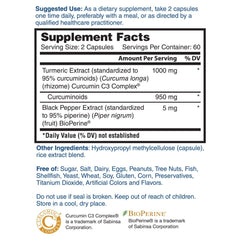 Nature's Lab Turmeric Extract with Curcumin C3 and BioPerine - 120 capsules Supplement Facts
