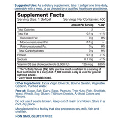 Nature's Lab Vitamin D3 125 mcg (5000 IU) - 400 soft gels Supplement Facts