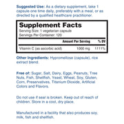 Nature's Lab Vitamin C 1000mg 120 capsules Supplement Facts