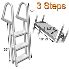 Aluminum Three Step Angled Pontoon Boat Boarding Ladder Dimesions