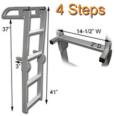 Four Step Quick Release Folding Aluminum Pontoon Boat Ladder Dimensions
