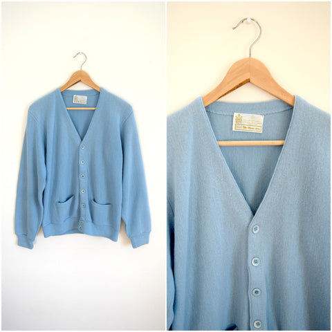 Men's preppy blue knit sweater cardigan