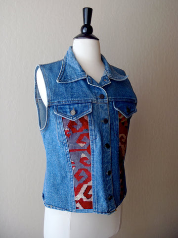 SALE Denim and tapestry vest