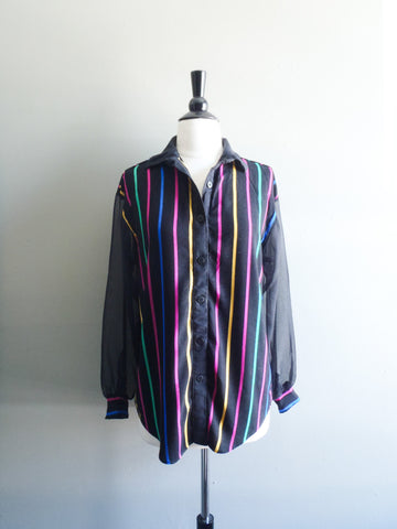 Black sheer sleeve candy stripe blouse