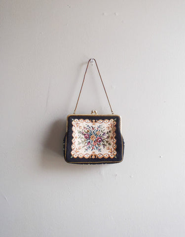 Victorian small black embroidered handbag