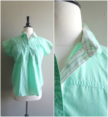 Aqua button-up camp shirt