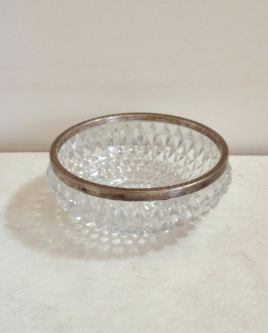 Vintage mid century glass bowl with tribal pattern silver edging / textured design