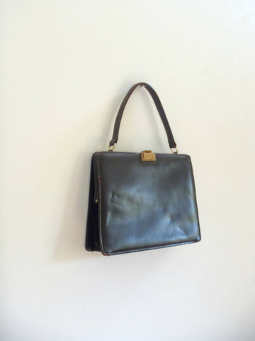 Vintage mid century black leather purse / handbag